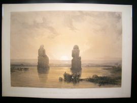 David Roberts Egypt 1847 LG Folio. Statues of Memnon at Thebes.
